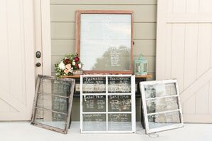 Seating Chart Display with Vintage Windowpanes