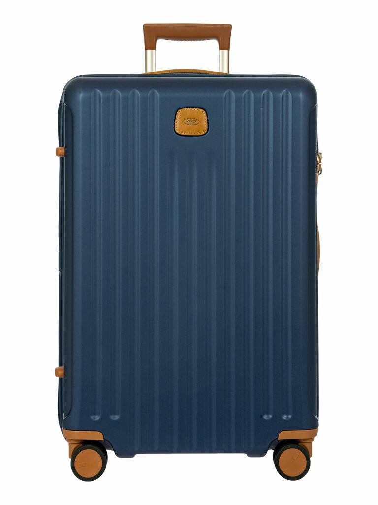 navy blue, gold and leather checked suitcase