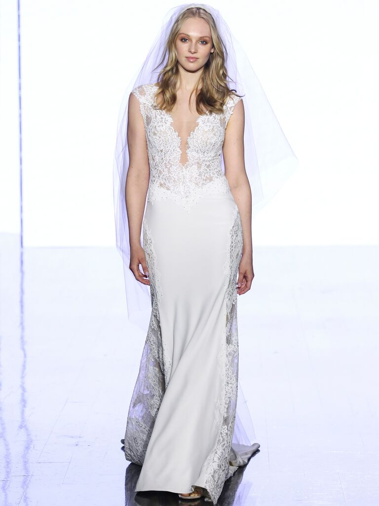 Watters Fall 2019 Bridal Collection lace wedding dress with cap sleeves