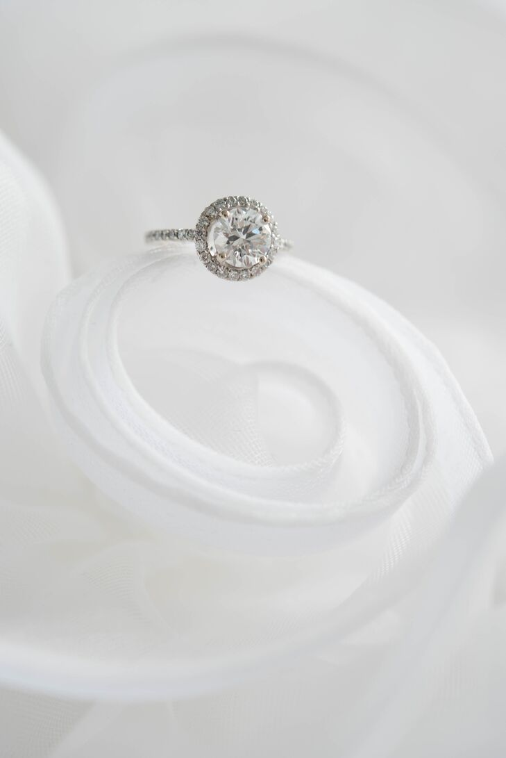 Round Engagement Ring With Diamond Halo