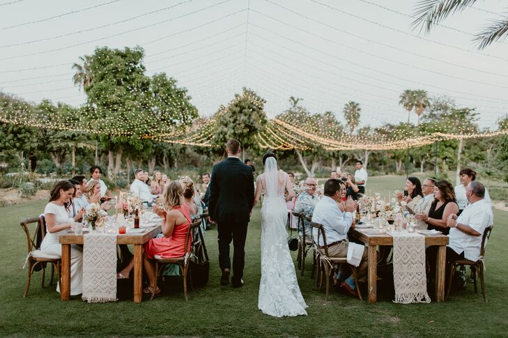 Intimate Outdoor Reception with String Lights