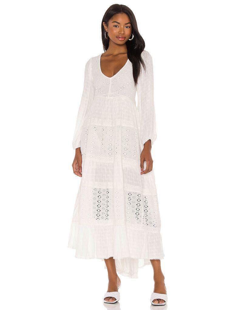 Boho white long sleeve maxi dress