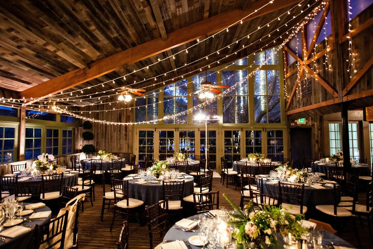 Strings of fairy lights hung across the angular ceiling of the Calamigos Ranch added a fun, festive touch to the reception decor.