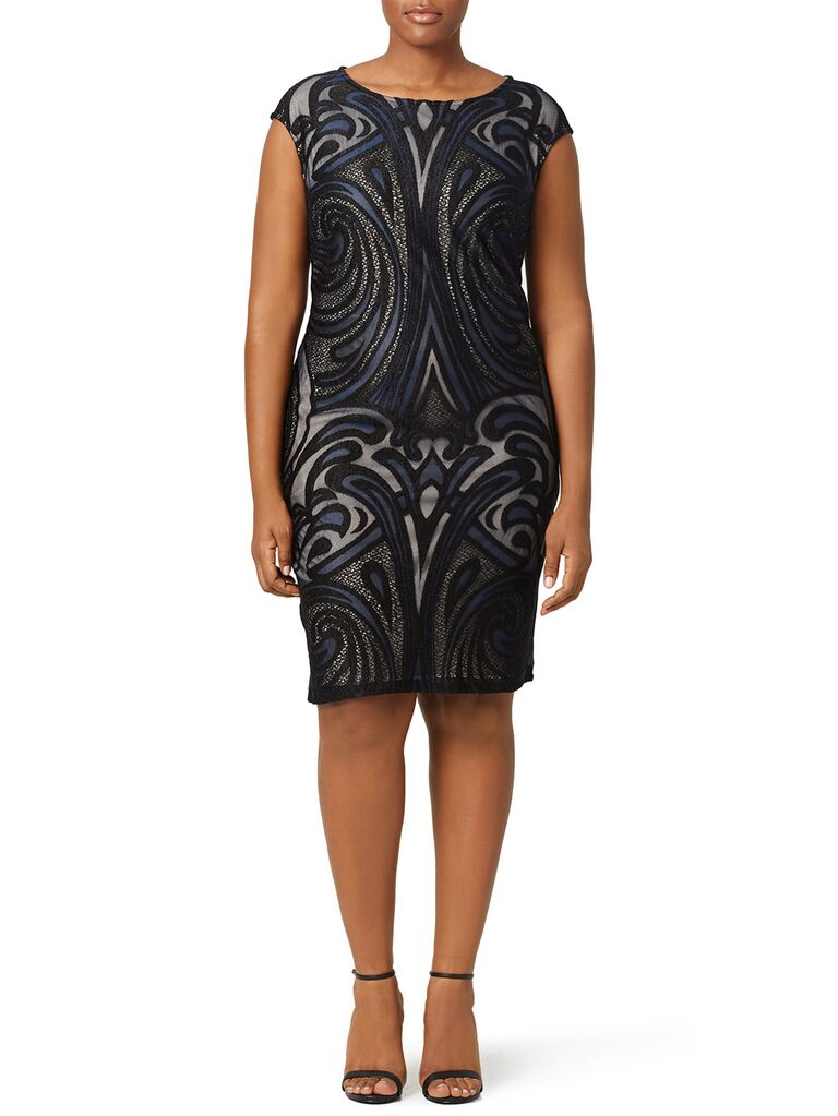 Black and navy Gatsby-inspired scrawl embellished mini dress