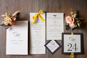 Simple, Chic Black and White Stationery With Yellow Accents