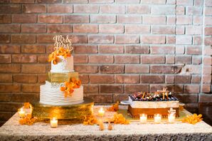 Gold, White and Orange Wedding Cake