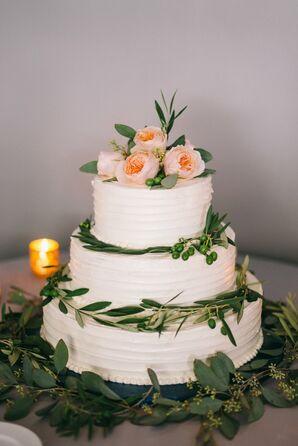 Romantic Buttercream Cake Decorated with Eucalyptus and Garden Roses
