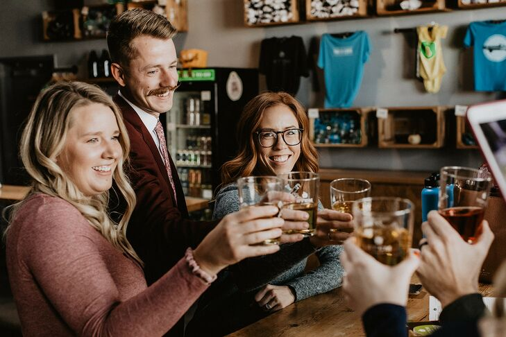 Drinks with Loved Ones During Colorado Elopement