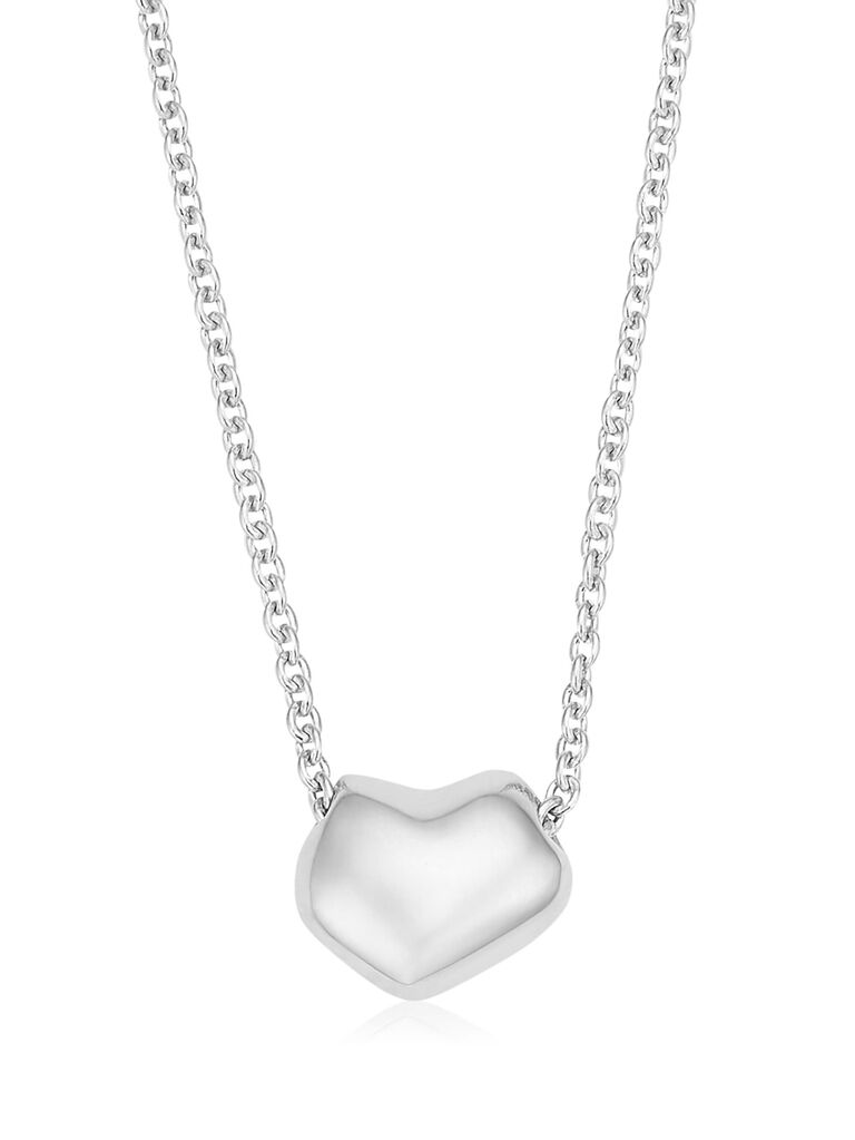 Modern heart silver bridal necklace
