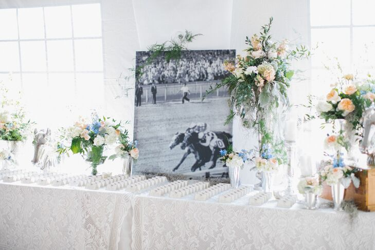 Romantic Escort Card Table with Kentucky Derby Photo