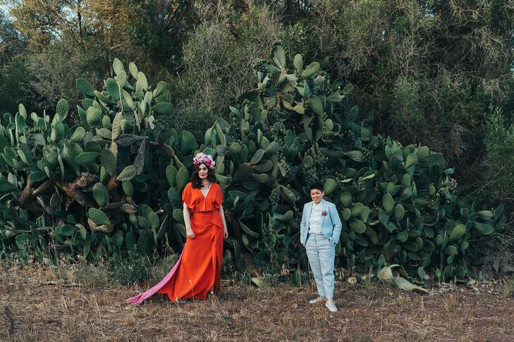 Couple Posing in Front of Large Cactus in Menorca, Spain