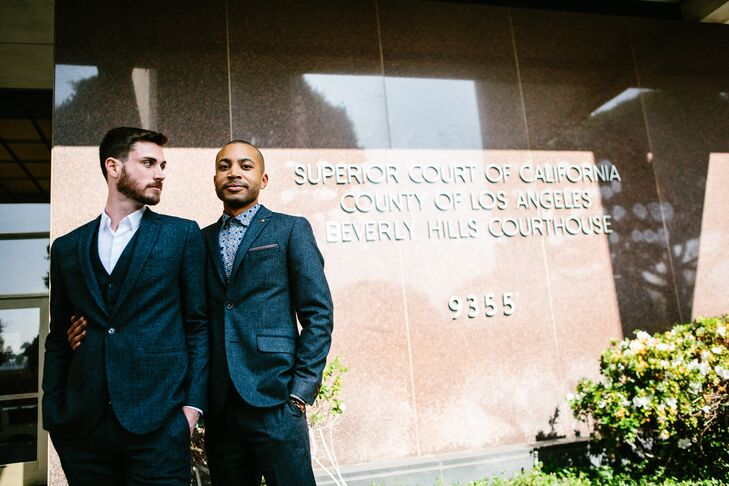 Jerrold and Drew stood in front of the Beverly Hills Courthouse sign where they were officially married.