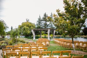 Wood and White-Draped Gazebo