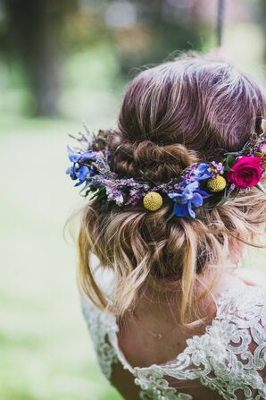 Boho Bridal Updo with Flower Crown of Delphiniums, Craspedia and Roses