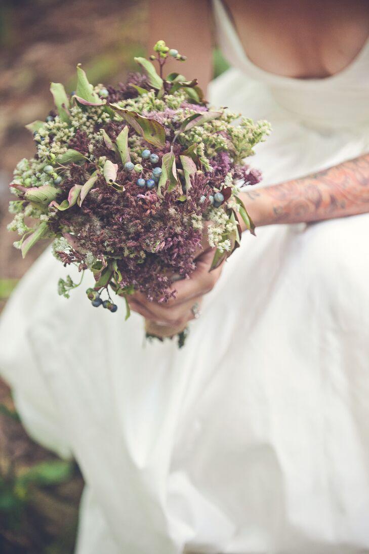 Rustic Diy Burgundy And Green Bridal Bouquet