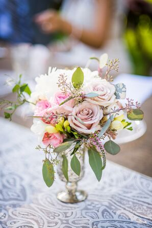 Eucalyptus and Rose Centerpiece in Silver Vase