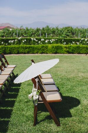 Wooden Ceremony Chairs and Parasol