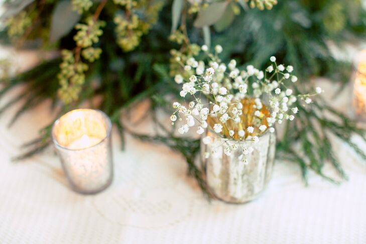 Christmas Greenery Centerpieces.Baby S Breath And Greenery Centerpieces
