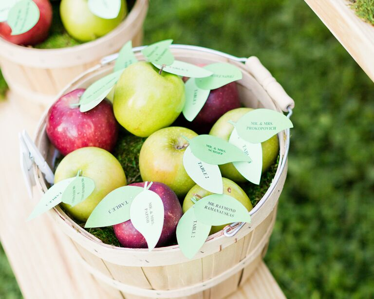 Red and green apples with leaf escort cards