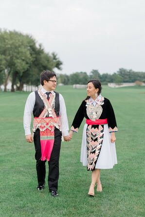 Bride and Groom with Traditional Hmong Outfits