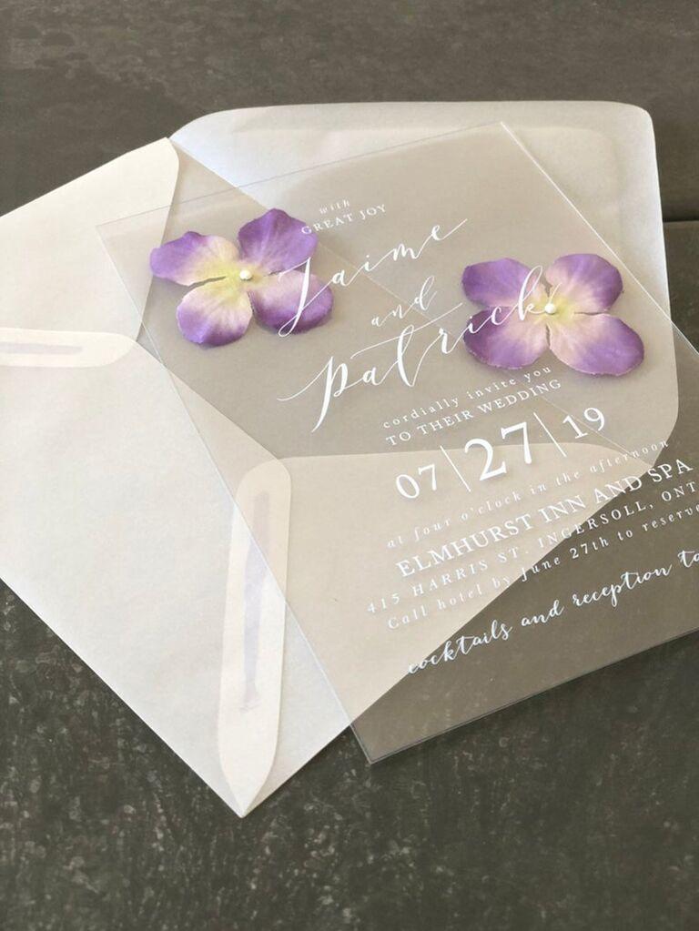 Wedding invitation trends pressed flowers