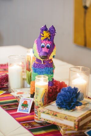 Colorful Candle and Piñata Centerpiece