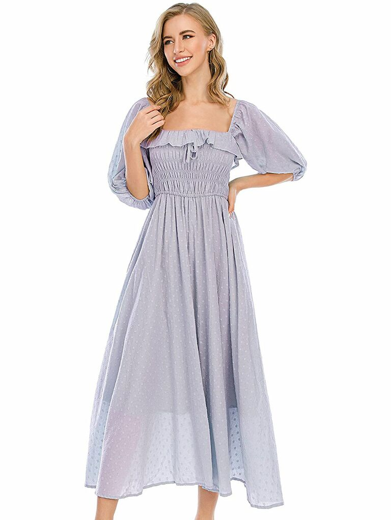 Airy purple midi cottagecore dress with blouson sleeves and ruched bodice
