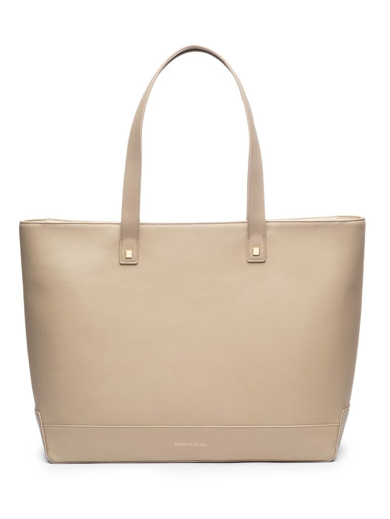 Cream faux leather tote third anniversary gift idea