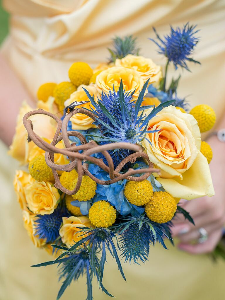 20 ideas for a unique wedding bouquet yellow and blue bridesmaid bouquet with roses thistle and billy balls izmirmasajfo Image collections