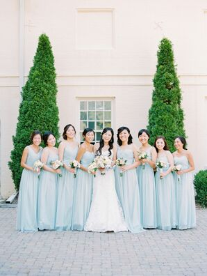 Mix-and-Match Pale Blue Chiffon Bridesmaid Dresses