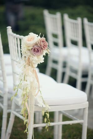 White Chiavari Chair with Garden Rose  Accent