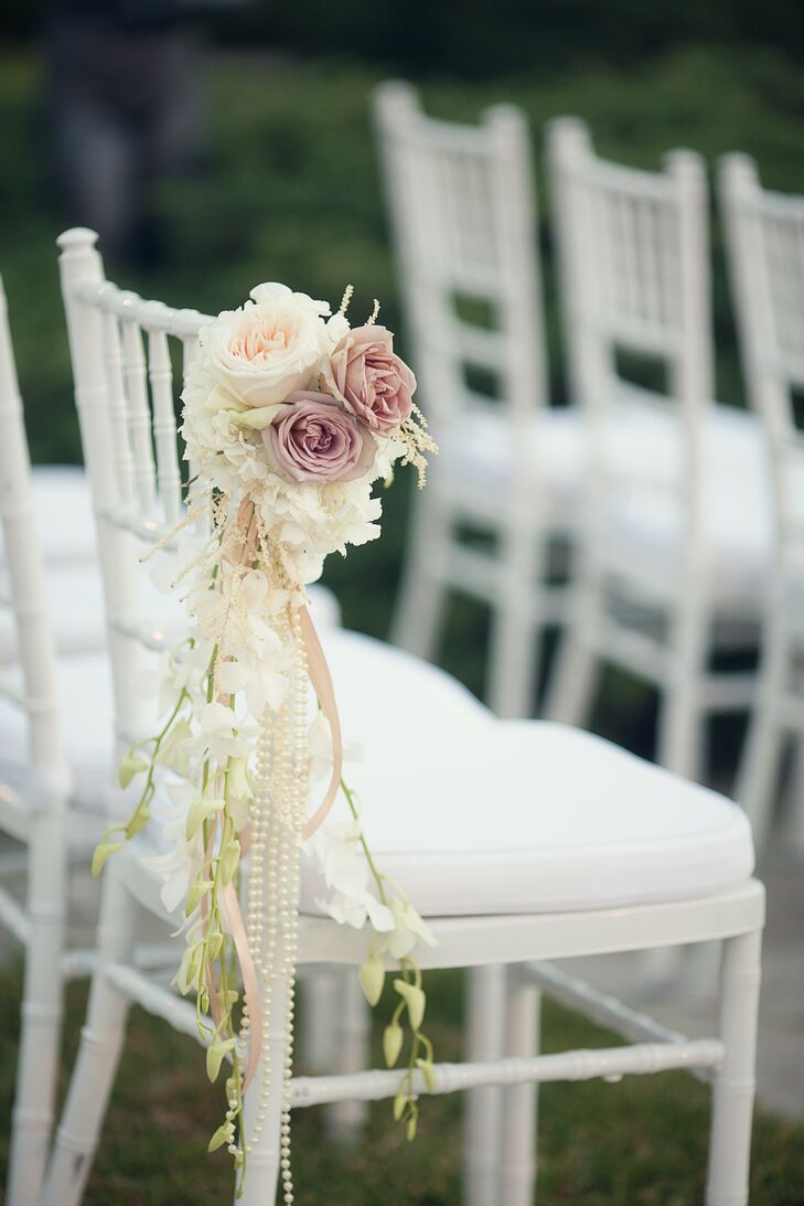 White Chiavari Chair with Garden Rose  Accent