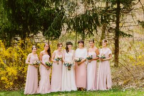 Bride with Bridal Party Dressed in Blush