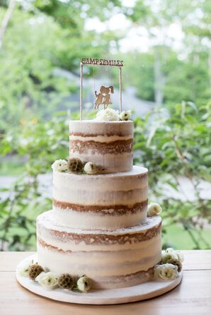 Rustic Camp-Themed Naked Wedding Cake