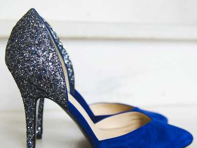 Blue wedding pumps with sparkly heel