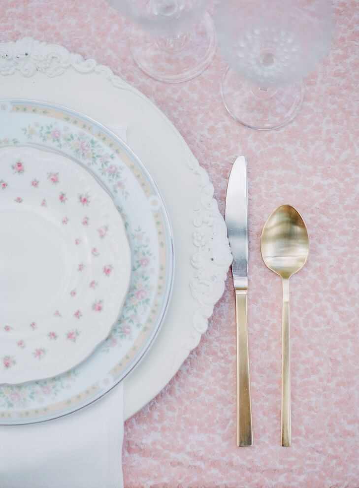 Vintage Floral Dinnerware and Gold Cutlery