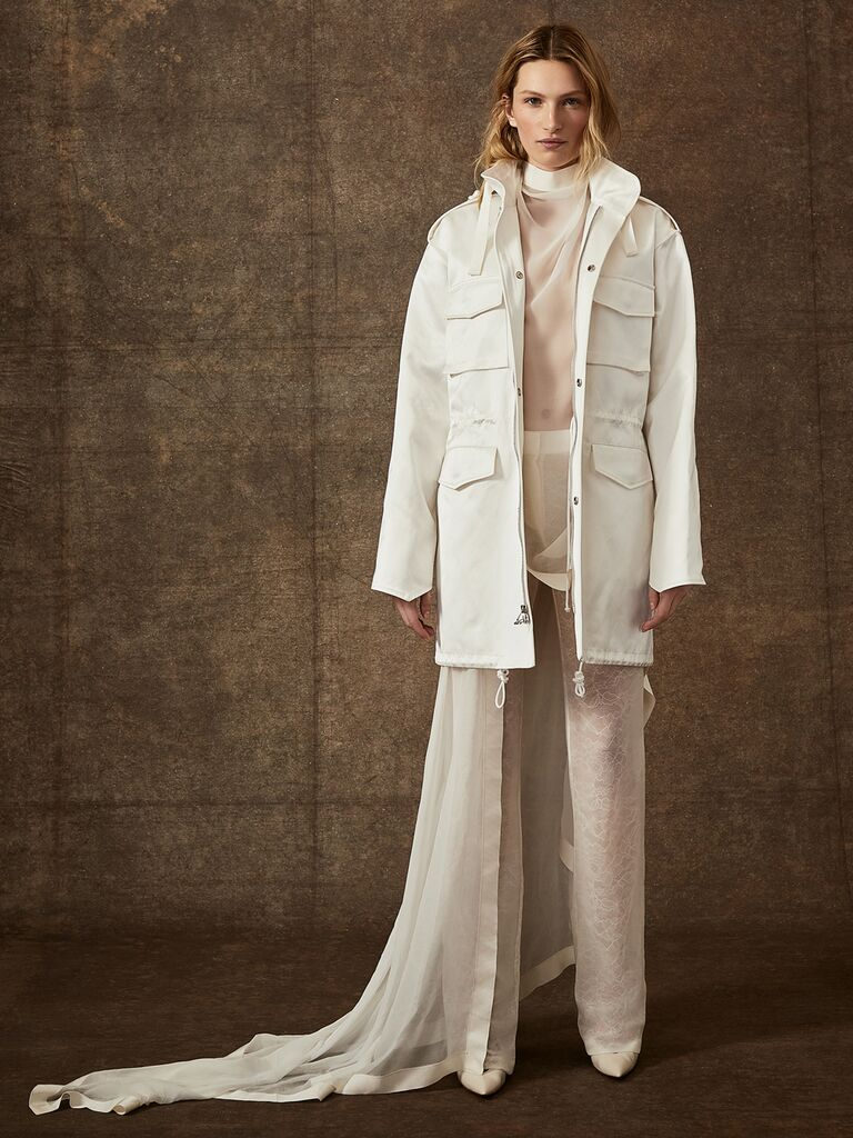 Danielle Frankel Spring 2020 Bridal Collection sheer wedding jumpsuit with white jacket