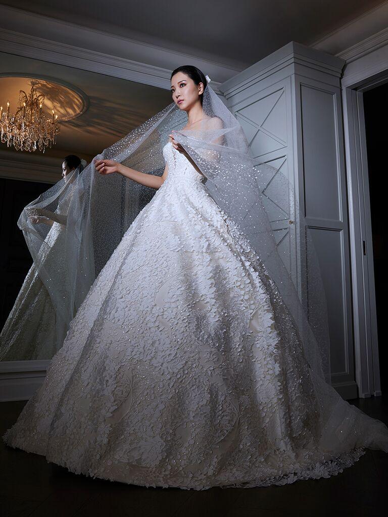 Romona Keveza wedding dress ball gown with veil