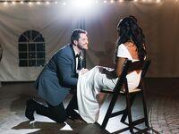 garter toss at wedding