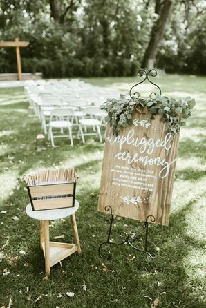 Wooden Signs for an Outdoor, Unplugged Ceremony