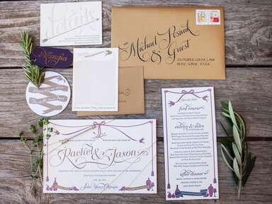 Purple tassel motif wedding invitation suite with rosemary