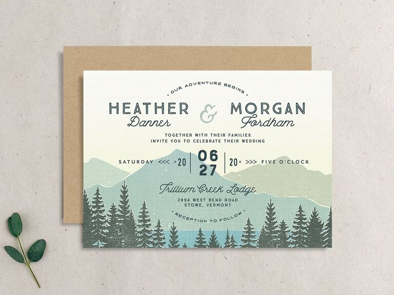 Summer wedding invitation with trees and mountains