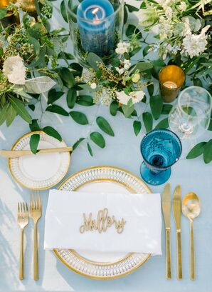 Gold Flatware and Blue Vintage Water Glasses