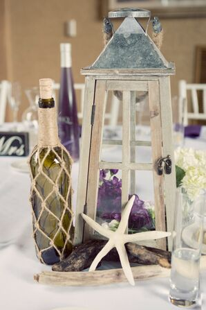 DIY Nautical Lantern and Bottle Centerpiece