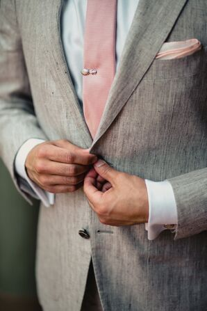 Gray Linen Suit with Pink Tie and Gold Pineapple Tie Clip