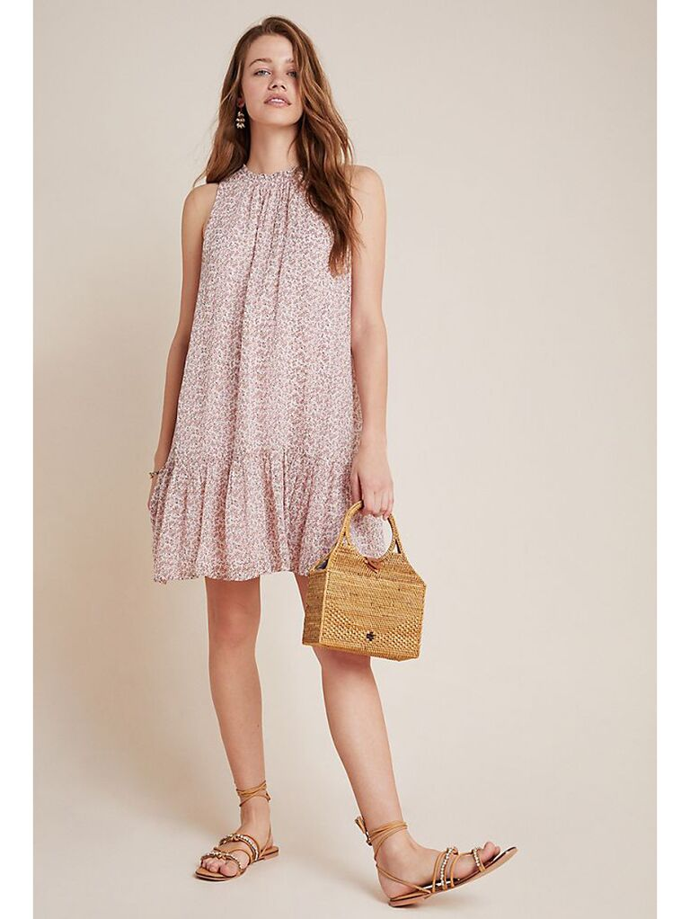 Neutral pink tunic dress with shirred ruffle hemline