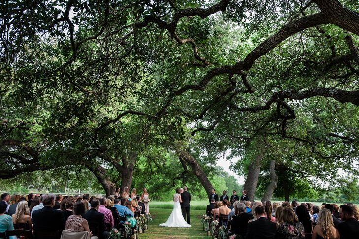 """The couple knew that a move to Austin was in their future, so they thought it would be special to get married in the city where they would start their lives together. """"The Vineyards at Chappel Lodge had all the elements I was searching for; it is secluded, has beautiful grounds, a vineyard, wildflowers and huge oak trees."""""""