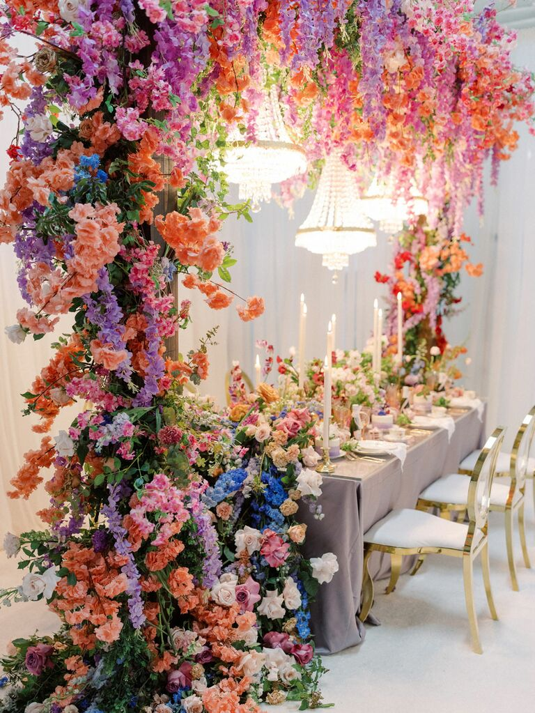 Bright and colorful flowers at Bridgerton-themed tea party bridal shower
