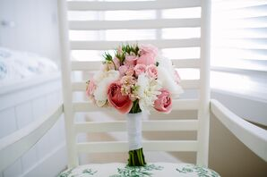 Bride's Bouquet with Spray Roses, Tea Roses and Peonies