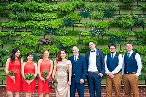 Elegant Casual Coral and Navy Wedding Party Looks